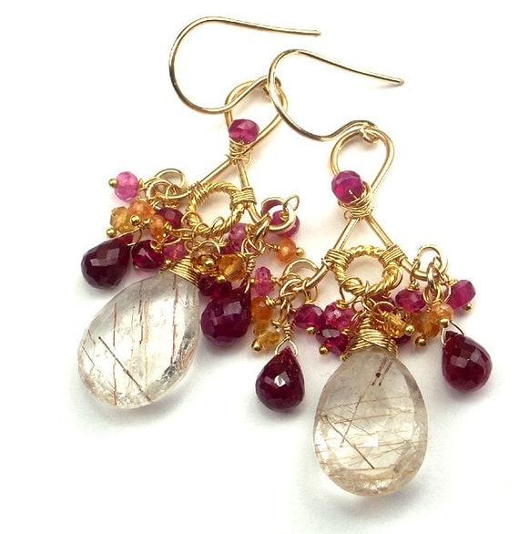SALE 30% -  Ruby Chandelier Earrings Wire Wrap Rutilated Quartz Gold Fill