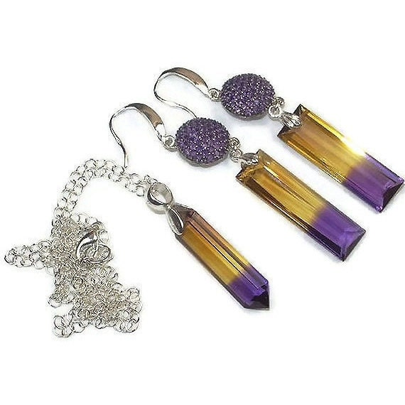 SALE 30% OFF - Ametrine Earrings Necklace Set Pave Amethyst Silver Connectors Ametrine Gemstone Spring Luxury Fashion