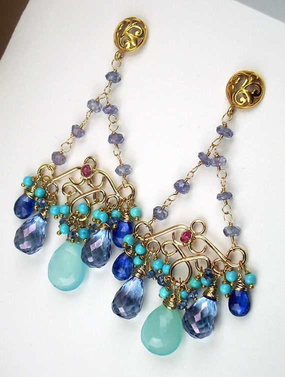 RESERVED for S - Long Gold Chandelier Earrings Wire Wrapped 14k Gold Fill Multicolor Turquoise Statement - Payment 1