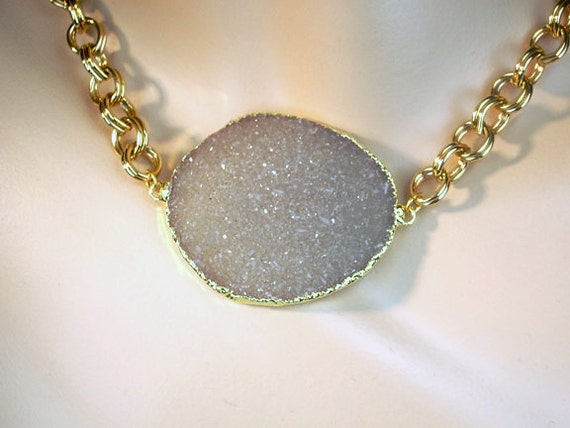 CUSTOM LISTING for Christine - Large Druzy Taupe Sand Druzy Crystal Pendant ONLY