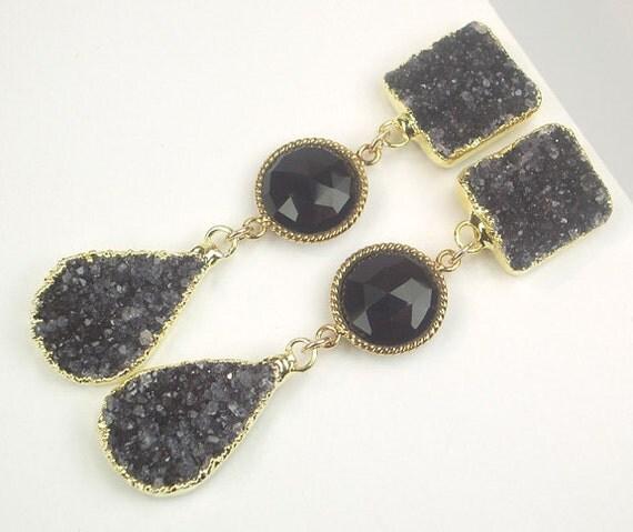 CUSTOM LISTING for K - Druzy Earrings Black Druzy Post Earrings Long Black  Dangle Earrings - Deposit