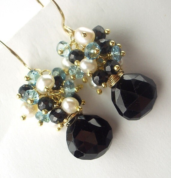 Black Spinel Cluster Earrings London Blue Topaz  Pearl Gold Wire Wrapped Fall Fashion under 100