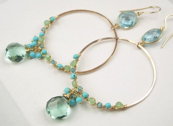 Wrapped Hoop Earrings Blue Green Gemstone 14kt Gold Filled Wire Wrap Blue Topaz Bezel Set Statement Hoop Earrings
