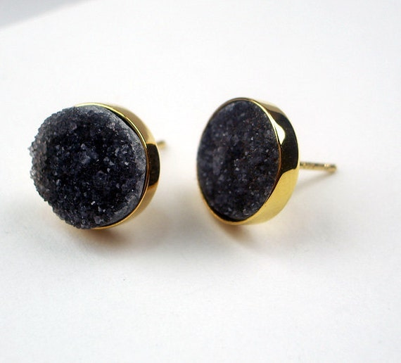 Black Druzy Post Stud Earrings 14kt Gold Filled Black Jasper Druzy Bezel Set Post Earrings