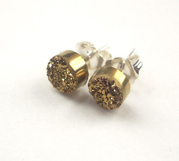 Tiny Gold Druzy Post Stud Earrings Gold Titanium Post Earrings