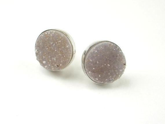 Off White Druzy Post Stud Earrings Sterling Silver Off White Jasper Druzy Bezel Set Post Earrings