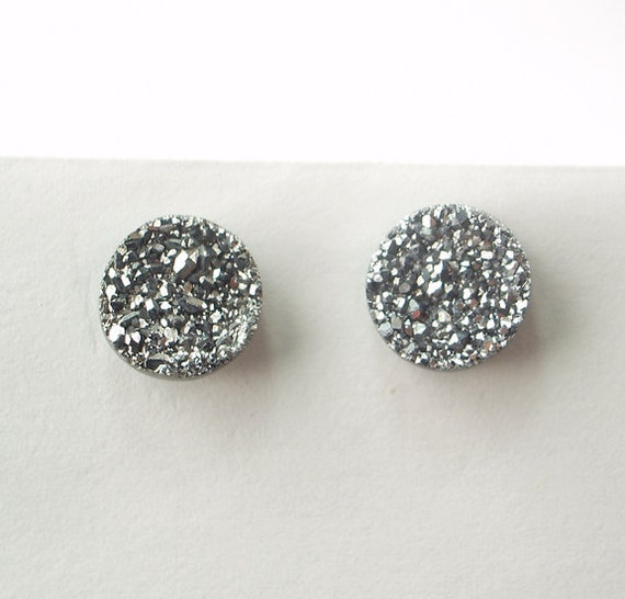 Silver Druzy Post Stud Earrings Silver Titanium Sterling Silver Post Clip on Earrings Fall Fashion
