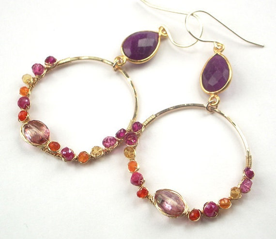 Wrapped Hoop Earrings Red Pink Orange Gemstone 14kt Gold Filled Wire Wrap Pink Ruby Bezel Set Statement Hoop Earrings Luxury Summer Fashion