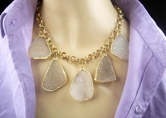 Druzy Necklace Large Druzy Dangle Necklace Bohemian Statement Necklace Luxury Fall Winter Fashion