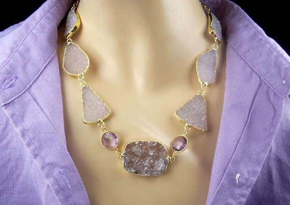 Druzy Statement Necklace Choker Lavender Crystal Gold Dipped