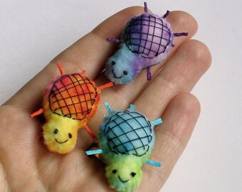 Turtle in tie dye miniature felt plush - tiny hand stitched