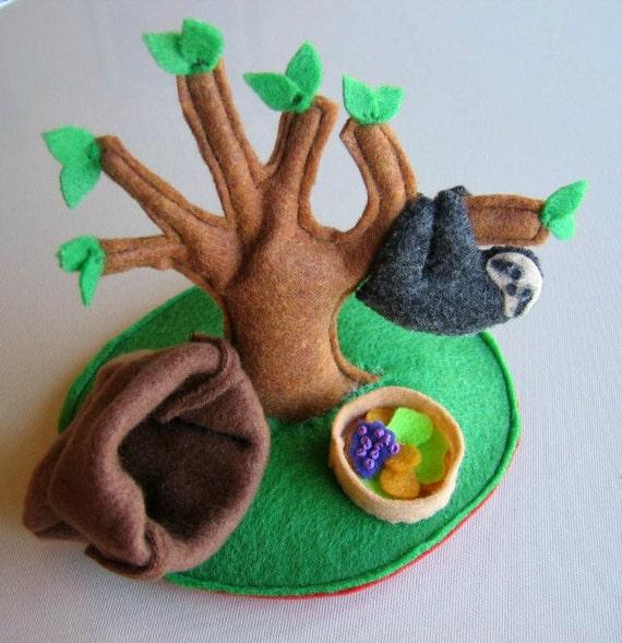 RESERVED FOR SUSAN Sloth play set stuffed plush animal with tree, food and snuggle bag