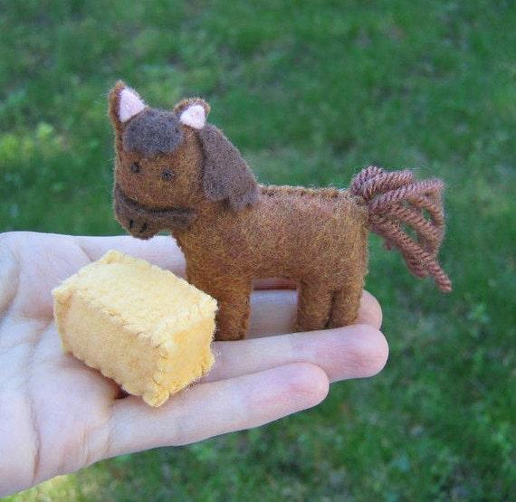 Horse miniature  felt play set with fleece hay bale