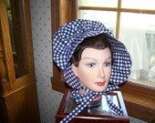 Ladies Adult Bonnet in Navy gingham check cotton fabric,Adult Costume