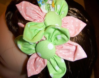Flower headband for children or adults, Pink and Green Shabby Chic Headband