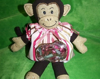 Monkey Candy Bag  PDF Pattern Baby Shower Favors with Immediate Download e-file