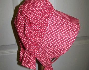 Christmas Baby  prairie Bonnet with soft calico fabric,childs costume