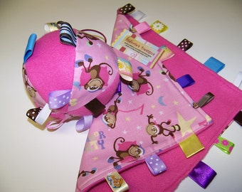 Baby SALE Ball & Blanket with Monkey in pink, brown and yellow or Butterflies Easter gift