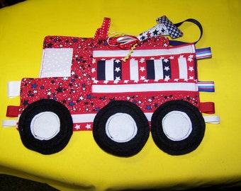 DIY Toy Fire Truck Patchwork Crinkle Toy with ribbons pdf pattern with Immediate Download e-file
