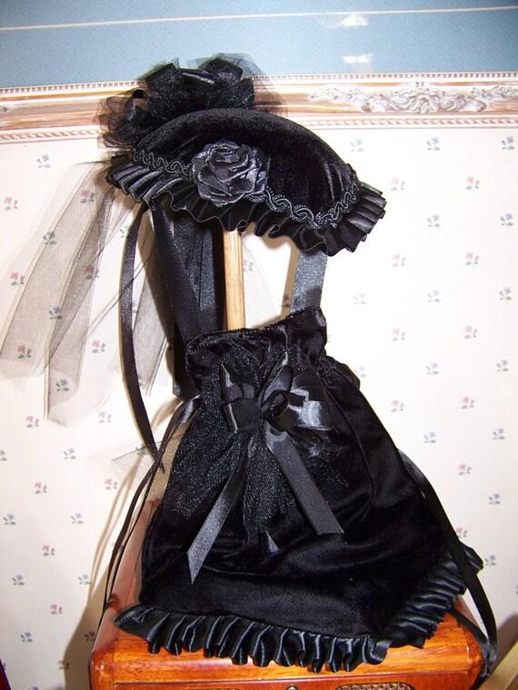 Ladies Civil War Hat Black Velvet Victorian  teardrop and Reticule to match Special Price