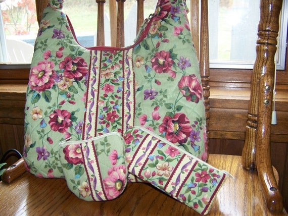 SALE 3 patterns for 1 price Oliva's Flower Garden Hobo purse change and glasses case pdf pattern and Tutorial
