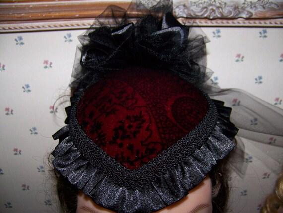 Western Ladies Victorian red and Black Velvet teardrop Hat, Civil War,Costume