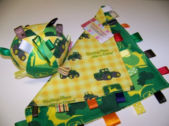 """John Deere Baby Taggie Ball and Blanket Handmade with Rattle 5"""" Dia. Yellow and Green SALE"""