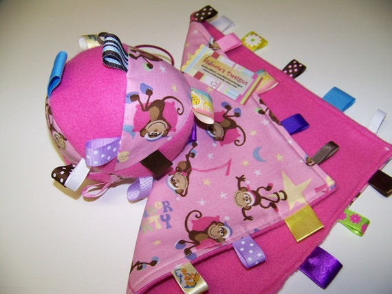 Baby SALE Taggie Ball & Blanket with Monkey in pink, brown and yellow or Butterflies Easter gift