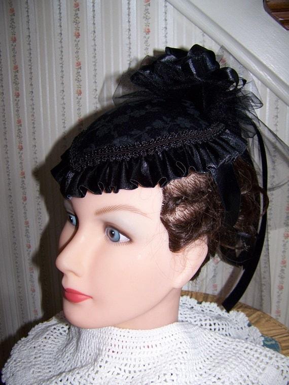 Ladies Civil War Hat Victorian,Black teardrop Brocade with Black Satin ruffle costume