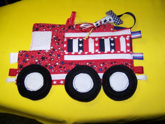 DIY Taggie Toy Fire Truck Patchwork Crinkle Toy pdf pattern