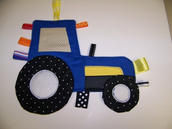 Tractor Crinkle Taggie Toy Patchwork Ford or New Holland