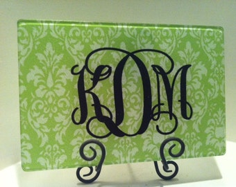 Lime green & white damask tempered glass cutting board - personalized