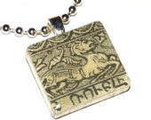 ARMENIA -- Russia -- Blue Dragon -- Vintage Postage Stamp Art Pendant -- Scrabble