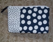 Navy and White Polka Dot Pouch