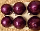 Royal Purple Glass Glitter Bulbs- set of 6