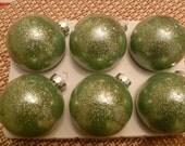 Aquamarine Glittered Glass Ornaments- set of 6
