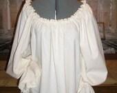 Renaissance Chemise Poet Blouse, Cotton with lovely Venise Lace Trim
