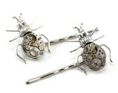 Steampunk Hair Barrettes - Curious Critters - Creepy Steampunk Clockwork Beetles and Vintage Watch Movements - SteampunkSweetShoppe