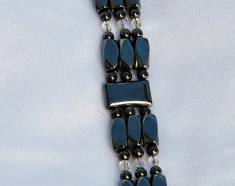 Magnetic Therapy Bracelet - Triple Strand with Clear Accents Therapeutic Magnetic Therapy for Arthritis Pain Relief