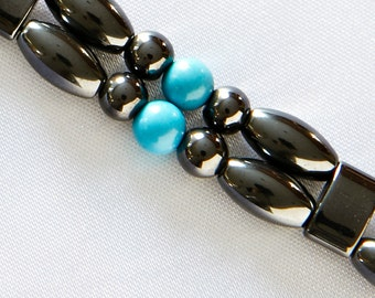 """Turquoise and Black Double Anklet for Men and Women- Magnetic Therapy Double Strand """"Sedona"""" Style"""