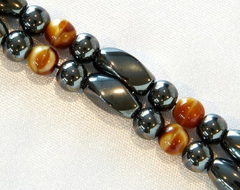 Double Strand Magnetic Therapy Bracelet - Shades Of Tan Therapeutic Magnetic Jewelry for Pain Relief