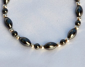 Silver and Black Magnetic Anklet for Magnetic Therapy by Happy and Healthy