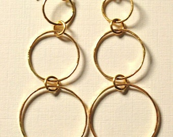 Gold-filled three-ring earrings