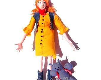 Original OOAK Artist's doll: Ella Eccentric and Herbert The Bear