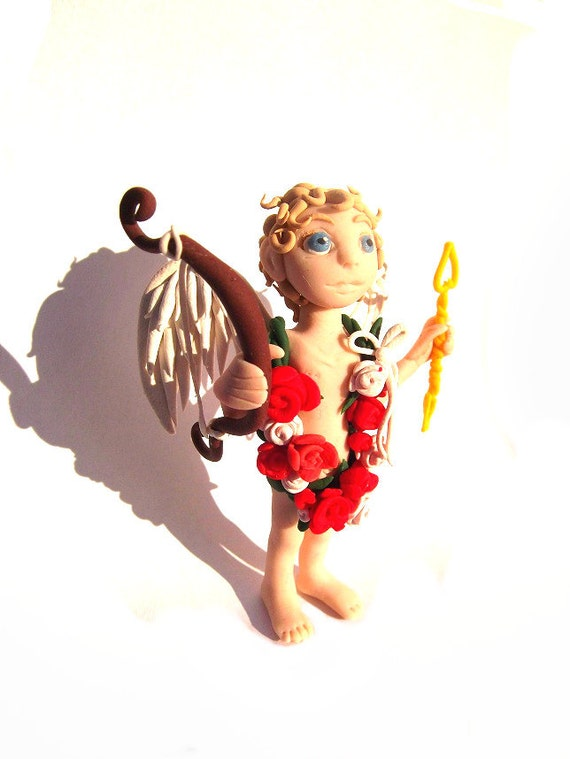 Valentine Cherub, OOAK Polymer Figurine