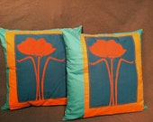 Blue Poppy Throw PIllows by Monica Howie