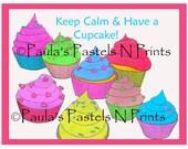 Keep Calm and Have A Cupcake Sticker - Bumper Sticker