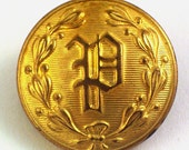 Monogram and Laurel Wreath Brass button - gold colored 7\/8 inch