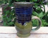 Carved Coffee Tea Stoneware Mug Garden Green Blue