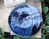 Dish Handmade Stoneware  Blue and Black